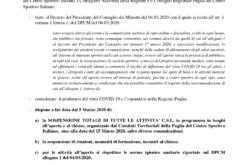 Sospensione dell'attività ufficiale del CSI Puglia sino al 15 Marzo 2020